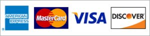 Credit cards accepted: Amex, MasterCard, Visa, Discover